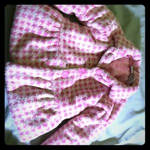 Glam pink checkered pea coat